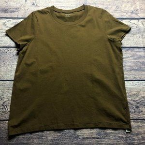 Madewell Large Olive Green Crew Neck Short Sleeve
